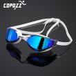 COPOZZ Professional Waterproof Plating Clear Double Anti-fog Swim Glasses Anti-UV Men Women eyewear swimming goggles with case