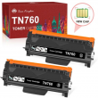 2PK TN760 Toner with Chip Compatible for Brother TN730 MFC-L2710DW DCP-L2550DW