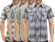 Men's Casual Rodeo Pearl Snap Short Sleeve Western Cotton Cowboy Dress Shirt