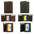 DBFL Men's Genuine Leather Solid ID Window Trifold Wallet