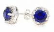 2 Carat Blue Sapphire & Diamond Round Stud Earrings 14Kt White Gold