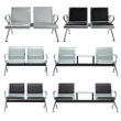 2 Seat Office Airport Waiting Room Chair Bank Barber Salon Hall Seat Steel Bench