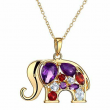 1 1/2 ct Multi-Gem & Diamond 18K Gold Flashed & SS-Plated Brass Elephant Pendant