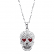 Crystaluxe Heart Eyes Skull Pendant with Crystals in Sterling Silver