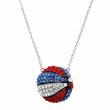 Crystaluxe Patriotic Basketball Necklace w Swarovski Crystals in Sterling Silver