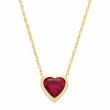 """Created Ruby Heart Pendant in 14K Gold-Plated Sterling Silver, 18"""""""