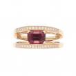 Breguet Reine De Naples Ring 18k Rose Gold with Rectangle Garnet Diamonds
