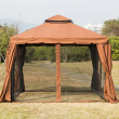 Outsunny 10'x10' Patio Gazebo w/ Polyester Curtains & Netted Screens, Brown