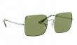 RAY-BAN SQUARE SUNGLASSES RB1971 91974E Silver Frame W/ Bottle Green Lens NEW