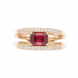 Breguet Reine De Naples Ring 18k Rose Gold with Center Garnet Diamonds