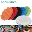 6Pcs 6 inch Car Buffing Sponge Polishing Pad Kit Waxing Auto Polisher Compound