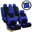 Car Seat Covers for Auto Full Set Blue w/Steering Wheel/Belt Pad/5Head Rest