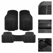 Car Floor Mats, All Weather Rubber Tactical Fit Heavy Duty Black - 3 Pc Set