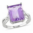 Amour Sterling Silver Purple Amethyst and White Topaz Crossover Engagement Ring