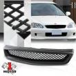 For 1999-2000 Honda Civic {X-MESH} Matte Black Plastic Bumper Grille Vent Grill