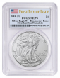 Presale 2021 (S) Silver Eagle PCGS MS70 First Day of Issue Emergency Issue Flag