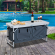 Outsunny 47'' Outdoor Aluminum Camping Portable Folding Picnic Table W/Cupboard