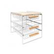 Origami Wood Top Steel Kitchen Organizer 3 Mesh Basket Sliding Drawer, White