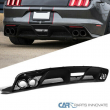 For 15-17 Ford Mustang GT350 Black Rear Bumper Diffuser Lip+Side Valance Panel