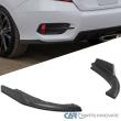 For 16-20 Honda Civic 4Dr Sedan Matte Black PP Rear Diffuser Bumper Lip Spoiler