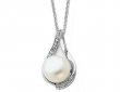 Solitaire White Cultured Freshwater Pearl 6mm Pendant Necklace in Sterling Silve