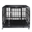 """42"""" Dog Crate Kennel Heavy Duty Pet Cage Playpen with Tray Pan + Wheels Black"""