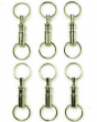 6pc DETACHABLE KEY CHAIN NICKEL PLATED - PULL APART QUICK RELEASE KEY RING
