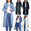 Women's Maxi Length Denim Cotton Oversize Long Casual Coat Button Up Jean Jacket