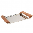 Stainless Steel Serving Tray Wood Handles Ottoman Coffee Table Living Room Décor