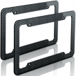Plastic Carbon Fiber Style License Plate Frames Front & Rear Bracket 2pc Set