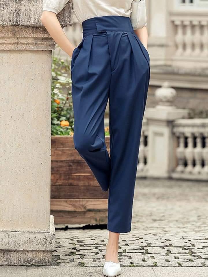 سروال نسائي عالي الخصر سروال كاجوال موضة كوري عادي  أنيق بخصر مرتفع وحزام قماشي. توجد جيوب في اللحامات الجانبية