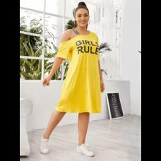 فستان تي شيرت بشعار العلامة التجارية